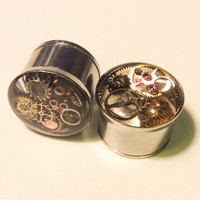 9/16 Single Flare Steampunk Tunnels Gauges Plugs filled with watch parts LIMITED EDITION