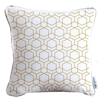 Gold Hexagon Pattern Decorative Throw Pillow w/ Reversible Gold and White Sequins - COVER ONLY (Inserts Sold Separately)