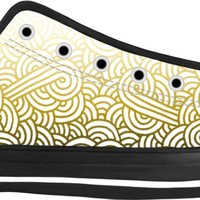 Gradient yellow and white swirls doodles Black Low Tops