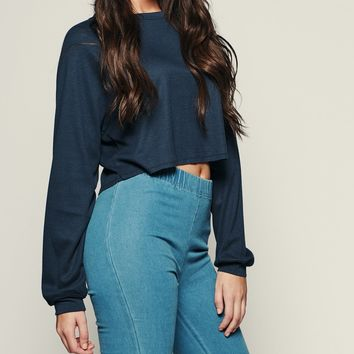 Don't Touch Me Cropped Sweater Top (Navy)