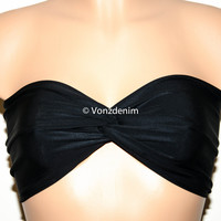 Black Spandex Bandeau, Beach Bra Swimsuit Top, Twisted Top Bathing Suits, Spandex Bandeau Bikini