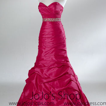 Fuchsia Pink Fit N Flare Empire Formal Prom Evening Dress HB2023A