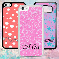 PERSONALISED POLKA DOTS STARS PINK PHONE CASE IPHONE SAMSUNG SONY YOUR NAME GIFT