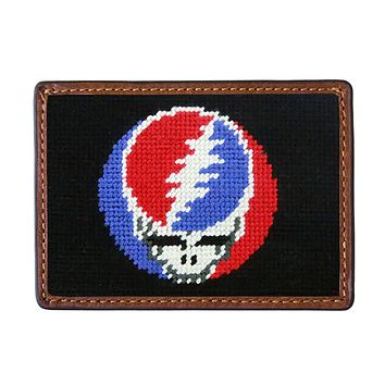 Steal Your Face Needlepoint Credit Card Wallet in Black by Smathers & Branson