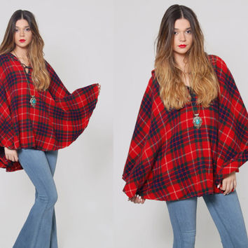 Vintage 70s PLAID Cape Red Checker Wool Poncho Draped Woodland Cape with Hood