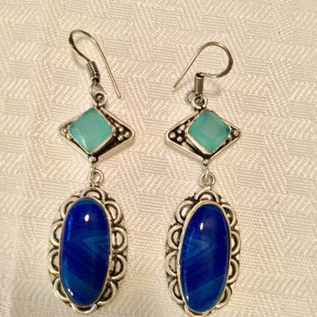 Blue Botswana Agate and Chalcedony sterling silver earrings