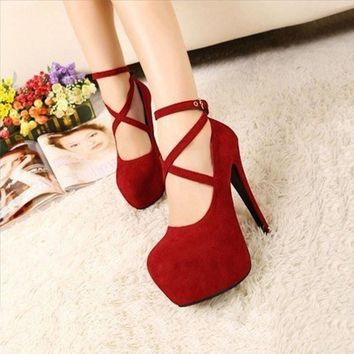 Sexy Formal OL Style Ankle Strap Lace-up Platform High Heel Shoes Large Size Black Red