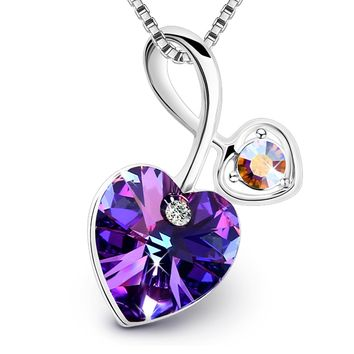Mom Gifts Necklace PLATO H Love Heart Pendant Necklace with Swarovski Crystal Women Jewelry Birthday Stone Gift for Her,Blue/Purple