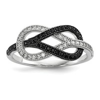 Sterling Silver Black & White Pave CZ Brilliant Embers Infinity Knot Ring