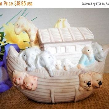 Noahs Ark Porcelain Bisque Babys Room Figurine Baby Shower Birthday Party Christian Gift Vintage 1980's Animal Decor Free Shipping