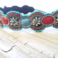 Patriotic headband Beaded headband Red white and Blue themed head piece Floral beaded head band American Flag elastic backing for women
