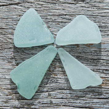 Thick pendant sized Light blue and Seafoam sea glass Jewelry supplies Nautical jewelry Bulk Sea glass necklace Blue seaglass pendant