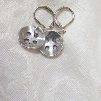 Silver Button earrings - Tibetan Silver, antiqued buttons dangling from silver plated leverbacks - classy and modern