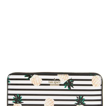 kate spade new york cameron street - lacey pineapples glazed canvas wallet | Nordstrom