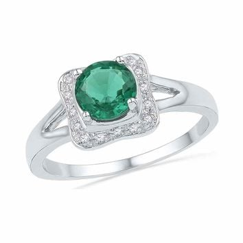 10kt White Gold Womens Round Lab-Created Emerald Solitaire Diamond Ring 7/8 Cttw