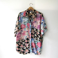 Vintage floral print blouse. Patchwork top. Oversized button up shirt. Short sleeved blouse.