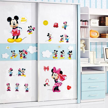 Minnie Mickey mouse wall art decals kids gift home decorative stickers diy cartoon animal mural pvc nursery boys bedroom posters