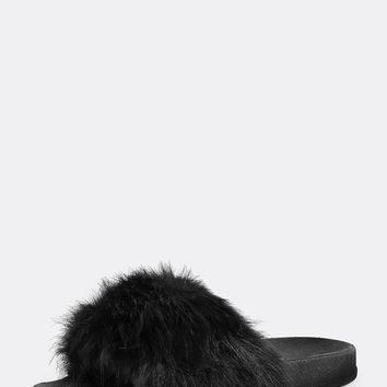 CR Black Faux Fur Slides