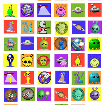 "rockets space ships aliens planets digital download COLLAGE SHEET 1 "" squares graphics images science fiction cartoon kids crafts printables"