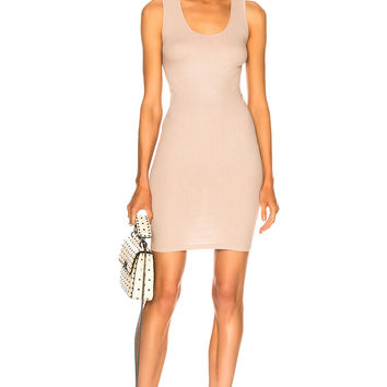 Enza Costa Rib Cross Back Mini Dress in Almond Milk | FWRD