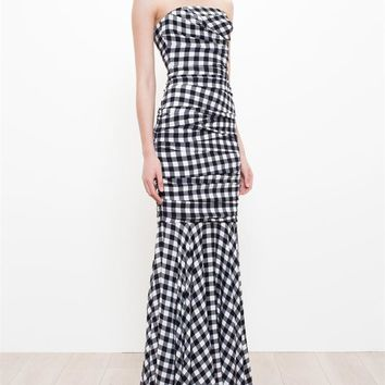 DOLCE & GABBANA | Silk Gingham Bustier Gown | Browns fashion & designer clothes & clothing