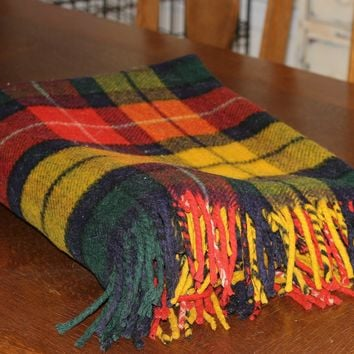 "Vintage Plaid Wool Blanket Fringed | Yellow Red Blue Green Blanket | Barth's Oklahoma City | Vintage 40's ""Indian"" Blanket"