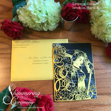 Mulan geisha inspired laser cut invitation wedding invite sweet sixteen announcement sword dragon lotus flowers Japanese