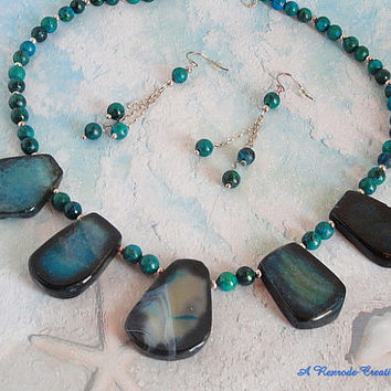 SALE - Beaded Jewelry Set / Slice Agate Jewelry Set with Jasper