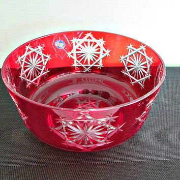 SALE! Vintage Big Bohemian Crystal Bowl Ruby Red Czech Cut Glass,  Cottage Chic