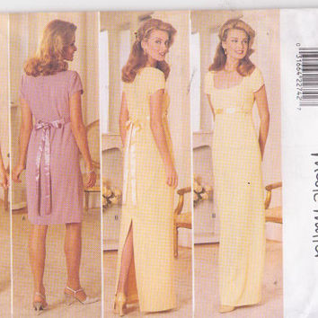 Pattern by Nicole Miller for short sleeved special occasion dress in knee or floor length misses size 12 14 16 Butterick 4297 UNCUT