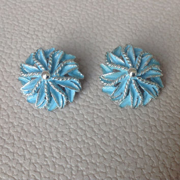 Vintage Clip Earrings with  Robin's Egg Blue Medallions 1950's Era with Silver Accents