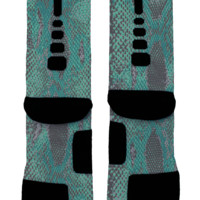 Blue Snake Skin Custom Nike Elites