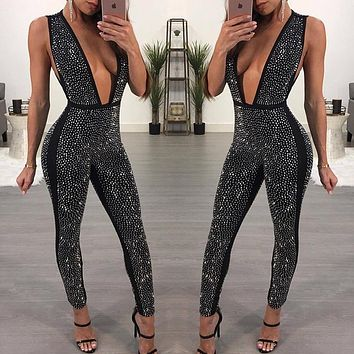 2017 Sexy Bodycon Jumpsuit for Women Romper Deep V-Neck Rhinestone Bodysuit Female Skinny Mesh Nightclub Party Sparkly Overalls