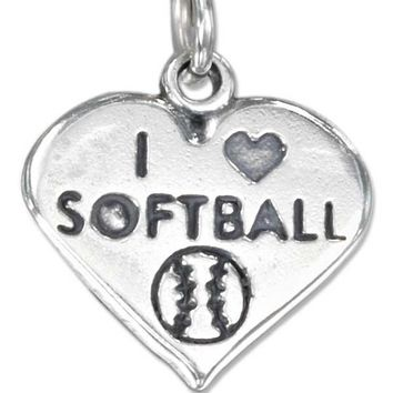 """Sterling Silver Charm:  Heart With """"i Heart Softball"""" Charm And Softball"""
