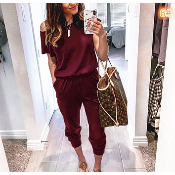 New women's slant shoulder short sleeve pocket piece trousers Wine Red