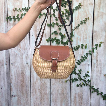 Small Straw Bag / straw handbag / Summer Hand bag / straw tote / straw purse