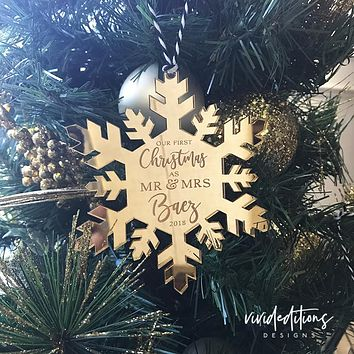 First Christmas as Mr & Mrs Personalized Ornament, Gold Mirror