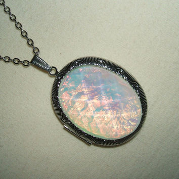OPAL Necklace LOCKET Pendant Photo Holder GORGEOUS Opalized Faceted Stone