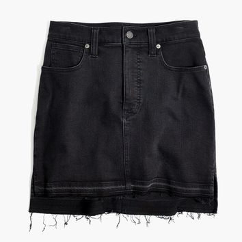 Step-Hem Jean Skirt in Washed Black : shopmadewell mini | Madewell