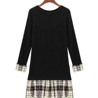 Plus Size Black Long Sleeves Dress with Check Hem