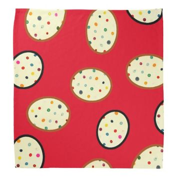 Big Circles Polka Dots Pattern Red Bandana