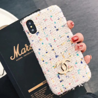 Chanel Fashion cortical silica gel phone case Logo iPhone 6 s mobile phone shell iPhone 7 plus shell Biege G