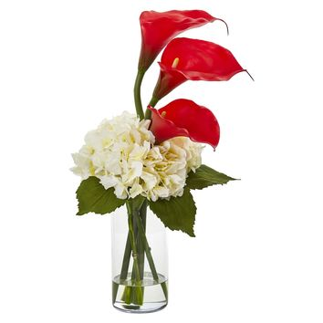 Artificial Flowers -Calla Lily and Hydrangea Red Arrangement