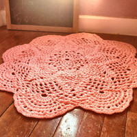 "Large 39"" Thick and Soft Crochet Round Sunshine Doily Rug MANY COLORS (shown in Princess Pink) Made to Order Soft for Baby Nusery"