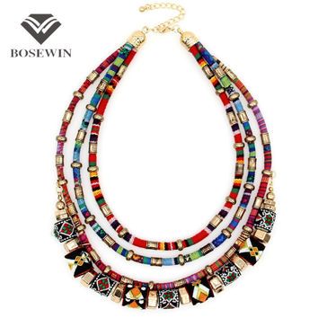 Latest Women Multi layers Statement Necklace Boho Style Choker Chains Ball Handmade Collar Maxi Necklaces & Pendants Big Jewelry
