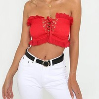 Aiden Off-the-Shoulder Frill Crop Top