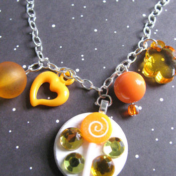 Orange Lollipop  Candy Necklace by Stargazer02 on Etsy