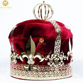 "Men's 9"" Red Velvet Crowns Imperial Medieval Tiaras Fleur De Lis Large Full Round King Pageant Party Costumes Hair Jewelry"