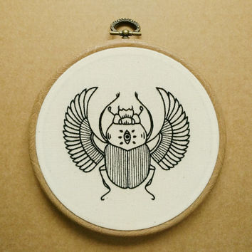 Scarab Hand Embroidery Pattern (PDF modern embroidery pattern - Ancient Egypt)