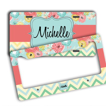 CHEVRON AND FLORAL - CUSTOMIZED LICENSE PLATE, FRAME OR BICYCLE PLATE